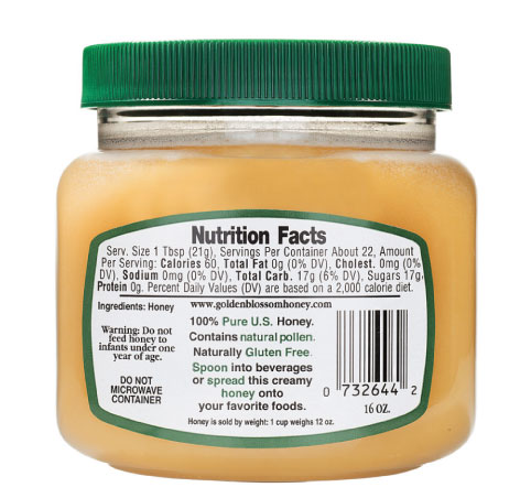 Raw honey ingredients and nutrition label